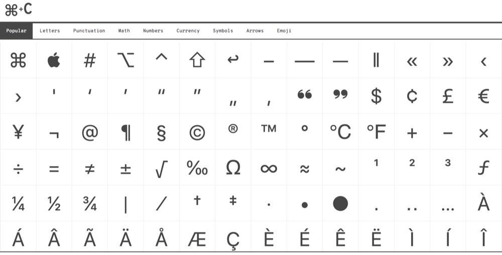 CopyChar, una web para copiar todo tipo de caracteres especiales
