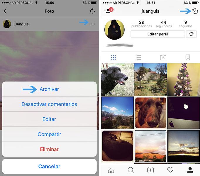 Instagram ya permite archivar fotos para ocultarlas de nuestro perfil