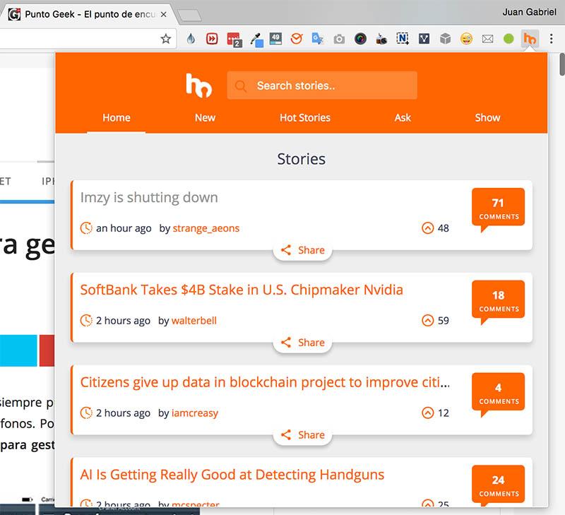 Extensión de Hacker News para Chrome