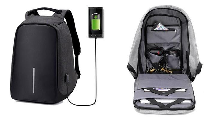 Ofertón: Mochila de viaje antirrobo con puerto de carga USB por $23.99