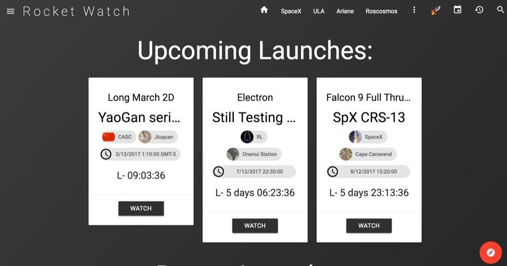 Rocket Watch: Para ver todos los lanzamientos de cohetes en tiempo real