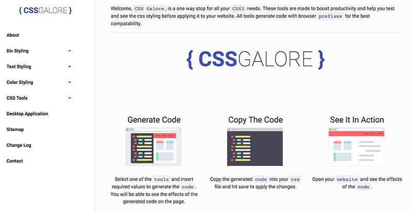 CSS Galore: Herramienta online para generar códigos de estilos CSS
